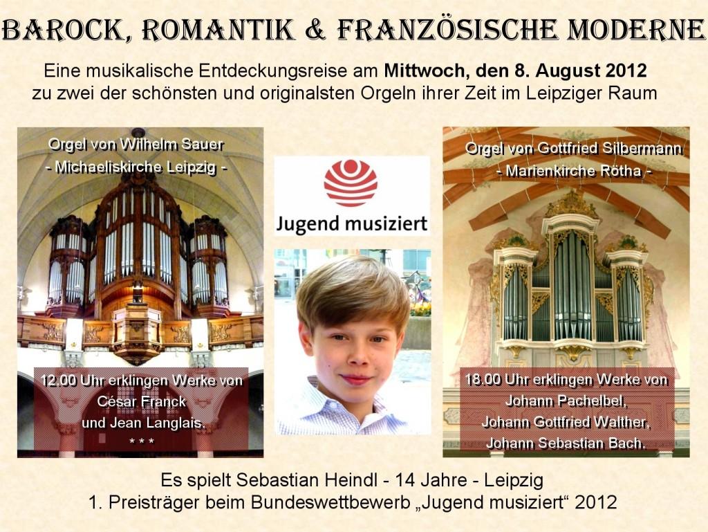 Plakat Sebastian Orgelkonzert 2012-08-08